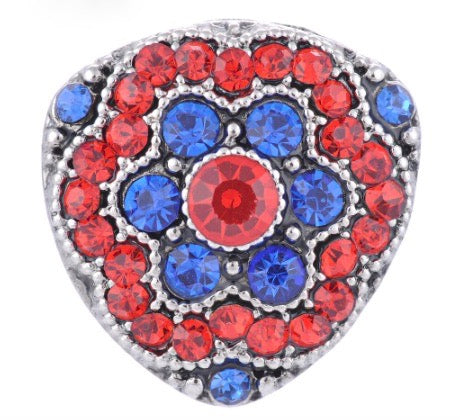 Diva Dot Snap Button, Red & Blue Triangle