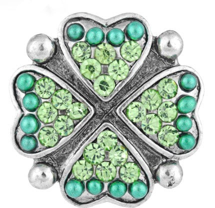 Diva Dot Snap Button, Clover Crystal & Bead