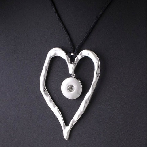 Necklace, Heart with Black Adjustable Cord