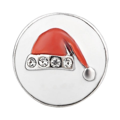 Diva Dot Snap Button, Santa Hat Red & White
