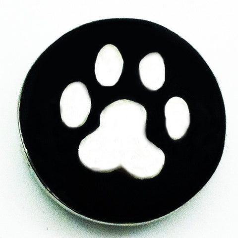 Diva Dot, Paw Silver with Black Background