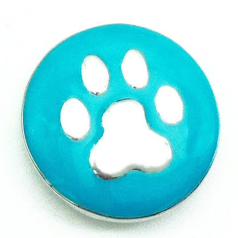 Diva Dot, Paw Silver on Aqua Green