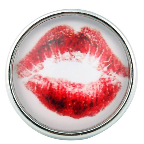 Diva Dot, Snap Button, Lips, Glass