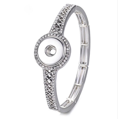 Snap Button Bracelet, Metal with Crystals