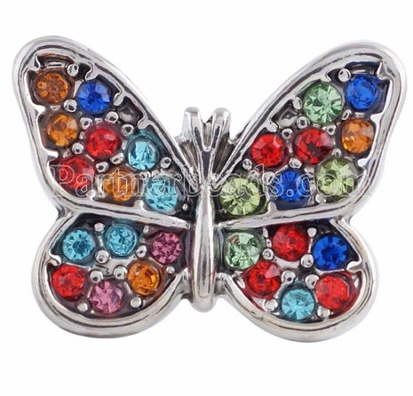Diva Dot Snap Button, Butterfly, Colored Crystals