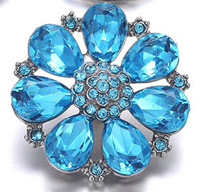 Diva Dot Snap Button, Blue Crystal Flower