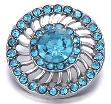 Diva Dot Snap Button, Blue Crystal Decorative