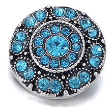 Diva Dot Snap Button, Blue Crystal, Decorative