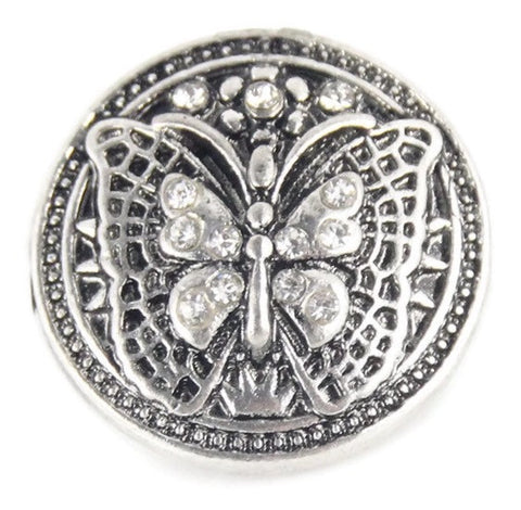 Diva Dot Snap Button, Silver Butterfly w/ Crystals