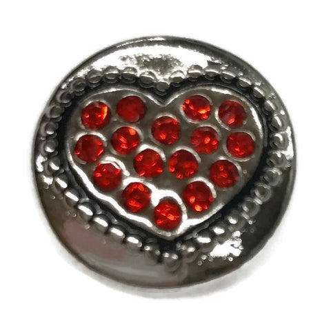 Diva Dot Snap Button, Red Heart With Crystals