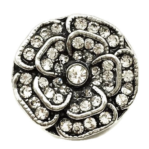 Diva Dot Snap Button, 3-D Flower Clear Crystal