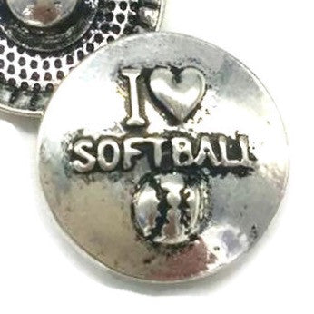 Diva Dot Snap Button, I Love Softball