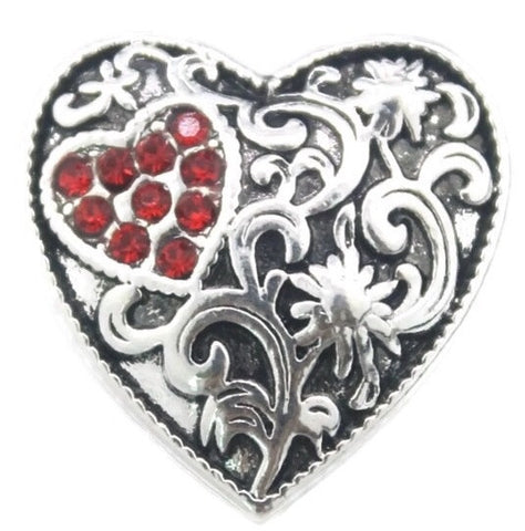 Diva Dot Snap Button, Heart Shape With Red Crystals