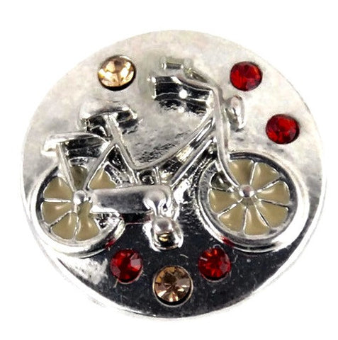 Diva Dot Snap Button, Bike w/ Crystals