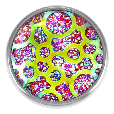 Diva Dot Snap Button, Crystal Ball Pink Fusion