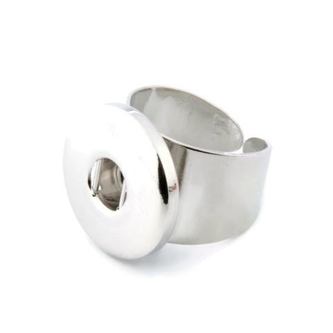Snap Button Ring, Wide Band Stainless Steel