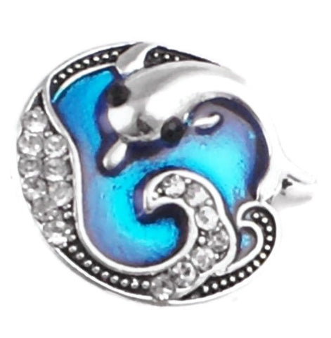 Diva Dot Snap Button, Dolphin With Crystals
