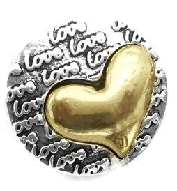 Diva Dot Snap Button, Gold Heart/Love