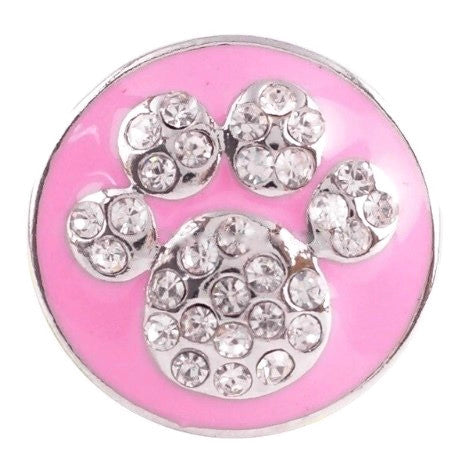 Diva Dot Snap Button, Crystal Paw w/ Pink Background