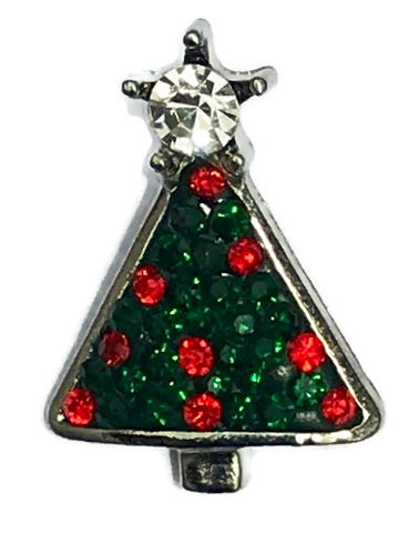 Diva Dot Snap Button, Christmas Tree, Red & Green Crystals