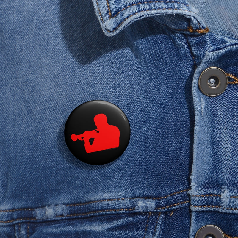 Woody Shaw® Pin Button - Red on Black