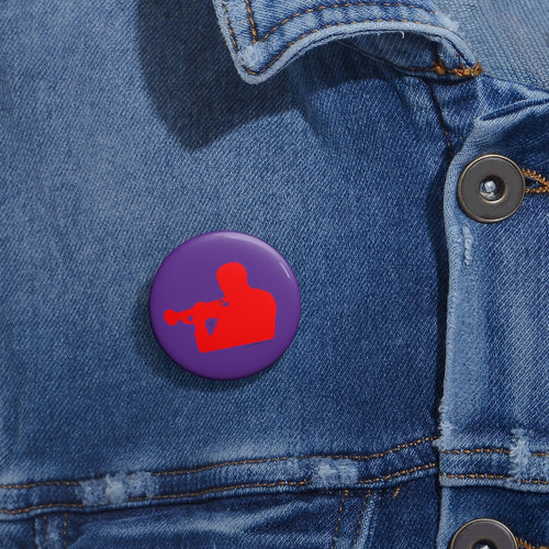 Woody Shaw® Pin Button - Red on Purple