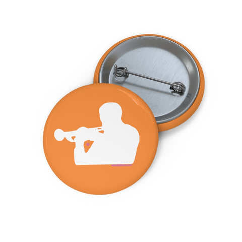 Woody Shaw® Pin Button - White on Orange