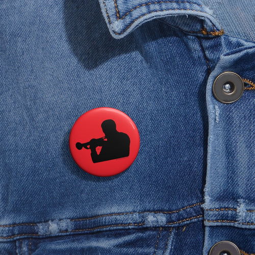 Woody Shaw® Pin Button - Black on Red