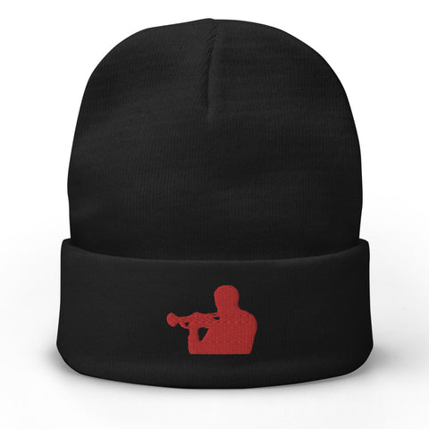 Woody Shaw Embroidered Beanie Hat (Red & Black)