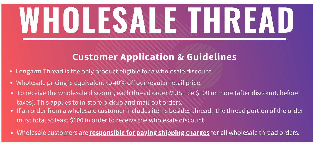 Guidelines for wholesale thread accounts