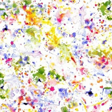 "White/Multi Paint Splatter 108"" Cotton (51537-1) – Sold in UNITS of ¼ metre"