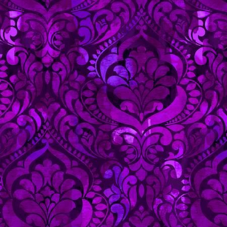 "Eggplant Damask Digital 108"" Cotton (5236S-55) – Sold in UNITS of ¼ metre"