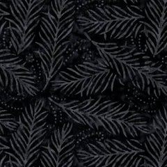 "Black Delicate Fronds 108"" Cotton (2082-999) - Sold in UNITS of ¼ metre"