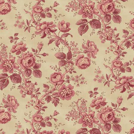 "Pink Roses Historical Reproduction 108"" Cotton (HIQB4052-P) – Sold in UNITS of ¼ metre"