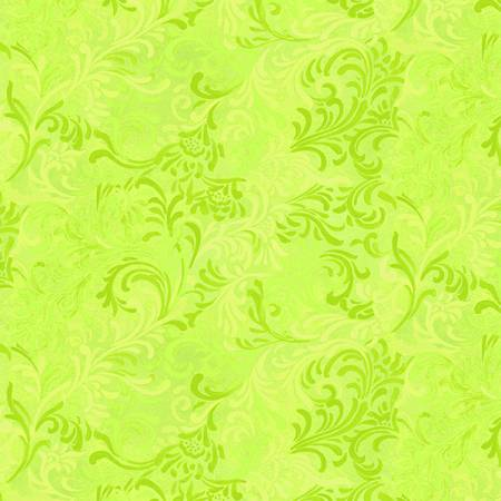 "108"" Wideback - Lime Scroll 100% Cotton (6608-705)"