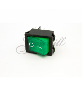 Switch, PNL, Rocker Dpst, 15A, Green Mod G