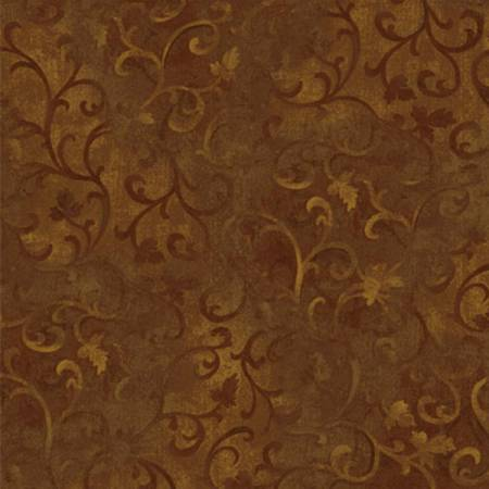 "108"" Wideback - Espresso Brown Scroll 100% Cotton (7210W-205)"