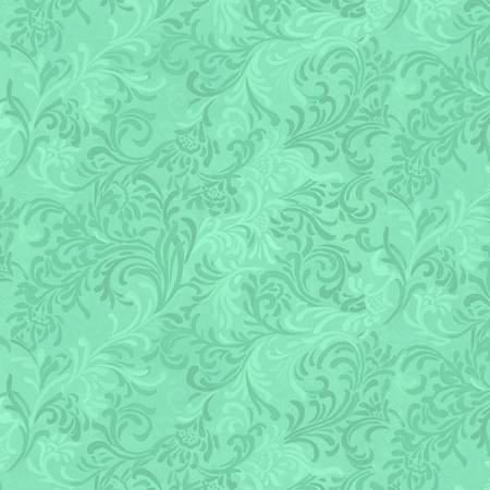 "108"" Wideback - Aqua Scroll 100% Cotton (6608-470)"
