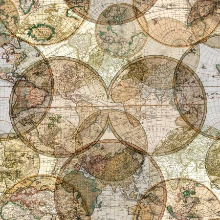 "World Globes Multi Digitally Printed 108"" Cotton (51381D-X) - Sold in UNITS of ¼ metre"