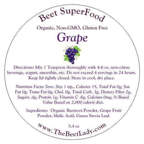 (GRAPE)Beet SuperFood - Liver & Bile, Kidney Cleanse,Lowers Blood Pressure,  Brain and Heart Health, Prevents Degenerative Diseases, Constipation,