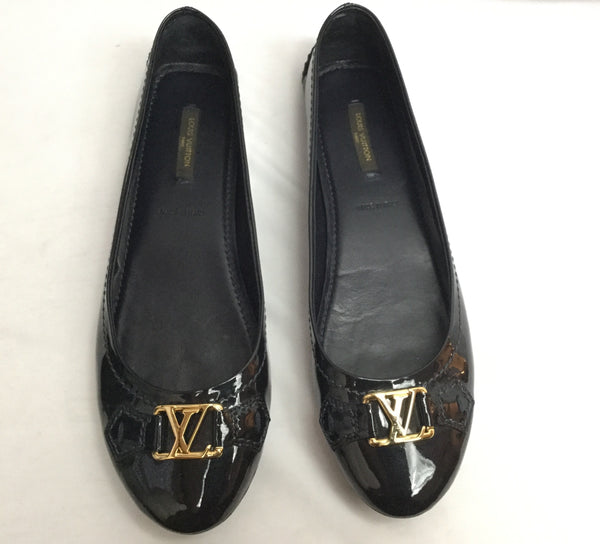 Louis Vuitton Size 38.5 Black Patent Leather Oxford Flats