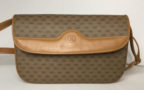 Gucci Tan Monogram Canvas Vintage CrossBody Bag