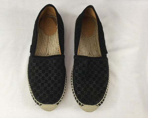 Gucci Size 39 Black Suede Microgussima Espadrille Flats