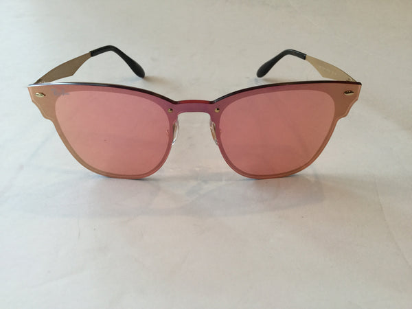 Ray Ban Pink & Gold Blaze Clubmaster Lens Over Frame Sunglasses