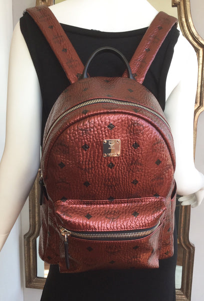 MCM Red Metallic Small Scooter Backpack