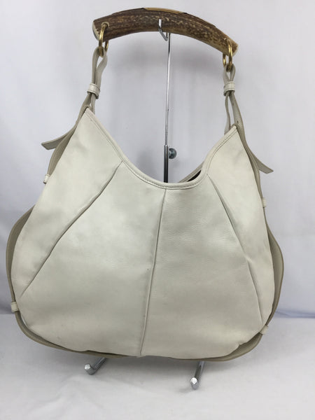 Yves Saint Laurent Rive Gauche White Horn Handle Mombasa Shoulder Bag