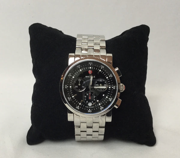 Michele Silver Stainless Steel Sport Sail Watch in Black