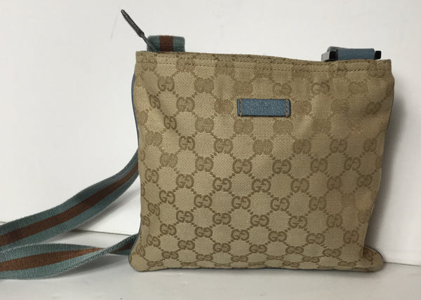 Gucci Monogram Small Web Messenger w/ Blue & Brown Strap