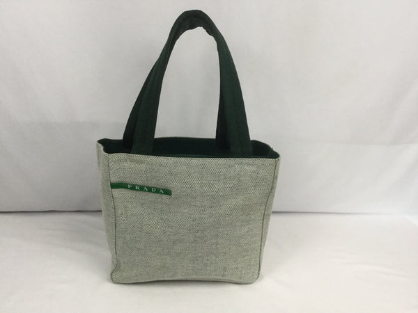 Prada Green & White Canvas Canapa Tote