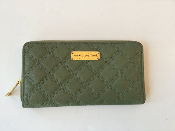 Marc Jacobs Green Quilted Leather Zip Around Continental Wallet